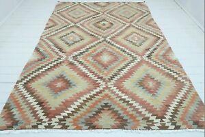 """Vintage Turkish Antalya Kilim Rug, Wool Diamond Dsg Rug Handmade Carpet 76""""X112"""""""