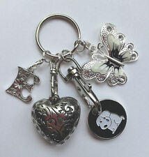 Personalised INITIAL Keyring Key Ring Gift - Butterfly/Heart - Dog Trolley Token