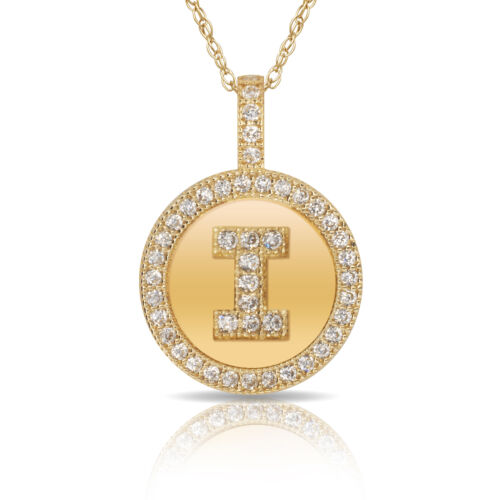 """14K Solid Yellow Gold Round Circle Initial /""""I/"""" Letter Charm Pendant Necklace"""