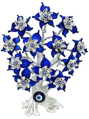 Turkish Blue Evil Eyes Beads Bonsai Tree with Lucky Elephant Home Office Decor