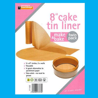 """Ambizioso 8x 8"""" Pollici Riutilizzabile Antiaderente Tortiera Beige Fodere Make & Bake- Una Grande Varietà Di Merci"""