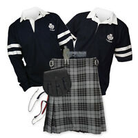 Sports Kit Essential Kilt Outfit - 2- Stripe Rugby Top - Granite Grey