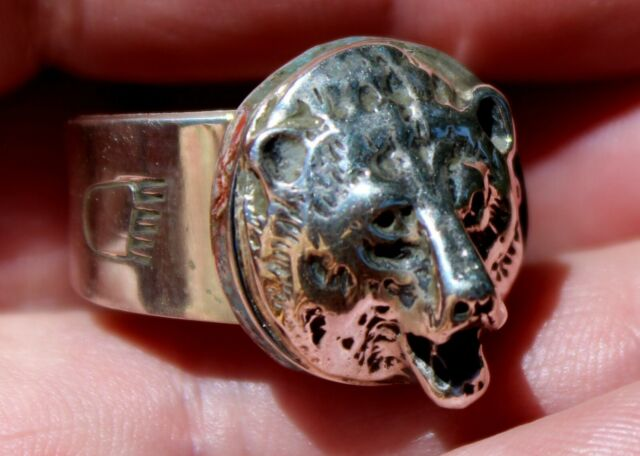 Eugene Gruber Navajo Sterling Silver & Turquoise & Coral Inlay BEAR Ring Size 10