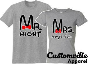 917664359f 🔥Mr. Right Mrs.Always right Mickey Matching T-shirts Funny married ...