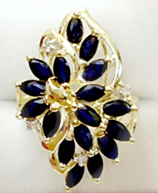 Vintage Fine Jewelry 14 kt Sapphire Diamond Ring
