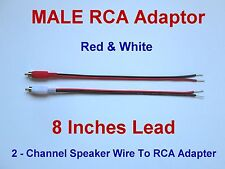 2 Channel Speaker Wire To RCA Adapter For Amp Receiver Powered Speakers MALE W-R