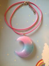Large Rainbow Pink Blue Purple Crescent Moon Necklace Kawaii Lolita Pastel Goth