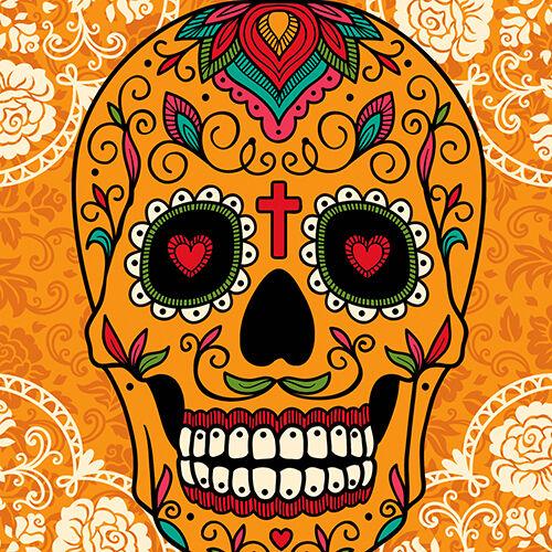Mexicano de azúcar Calavera Cojín Cubierta 16x16 40cm Retro Día de los muertos Naranja Multi