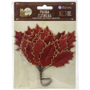 VICTORIAN-CHRISTMAS-18-Glittered-LEAF-Stems-RED-amp-GOLD-Edge-30-60mm-PRIMA