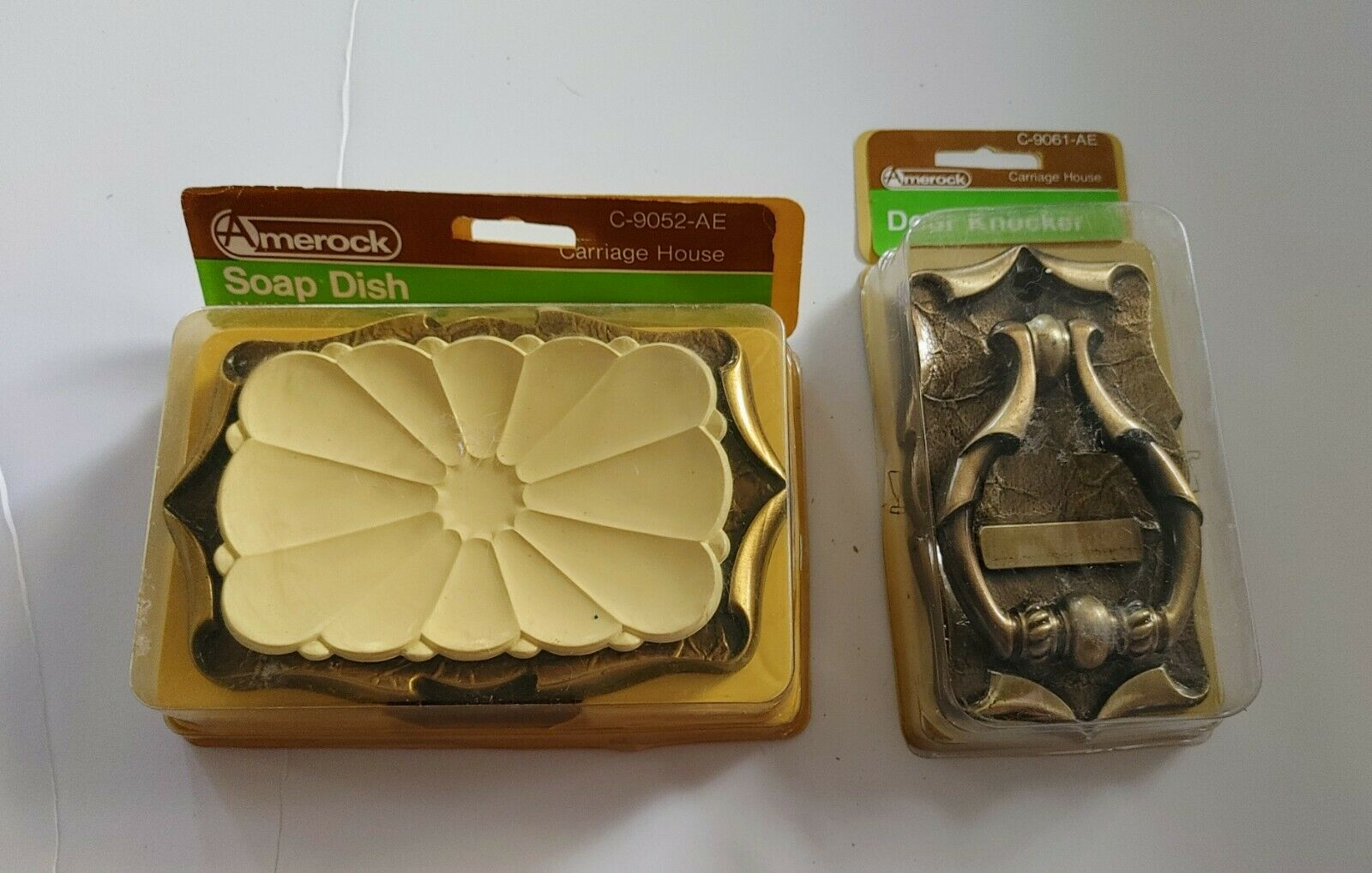 Vintage Amerock Carriage House Soap Dish and Door Knocker New in Package Brass
