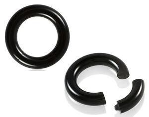 pair black acrylic segment rings captive bead jewelry