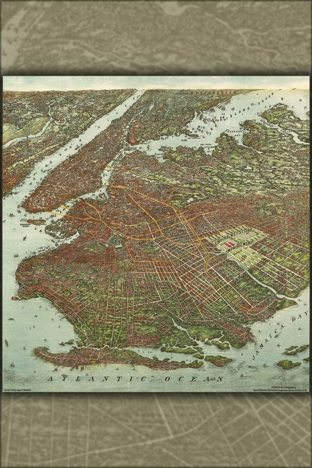 Poster, Molte Misure; Birdseye Vista Mappa Del Brooklyn Manhattan New York City