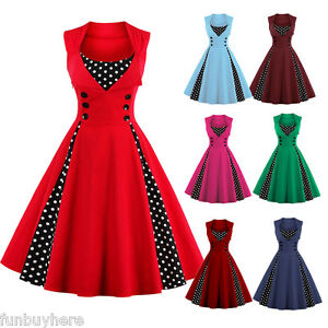 fb5b3c90354 Women Vintage 50s Swing Solid RED Polka Dot Pinup Rockabilly Evening ...