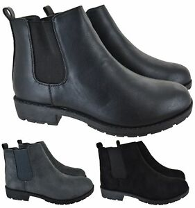 Ladies Womens Flat Low Heel Office Work Casual Gusset Chelsea Ankle Boots Size