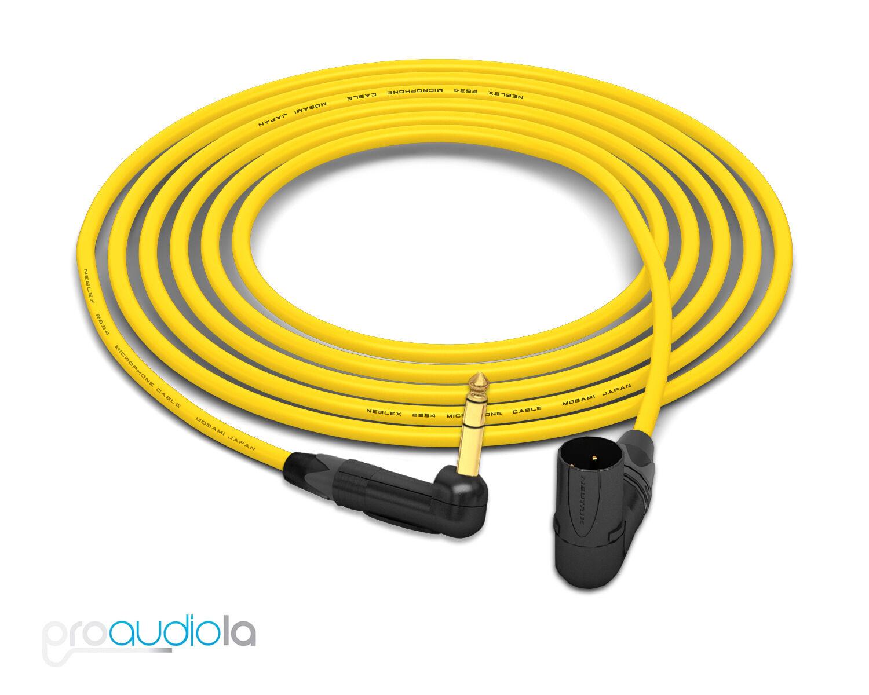 Mogami 2534 Quad Cable   Neutrik guld 90º TRS to 90º XLR-M   Gelb 15 Feet 15'