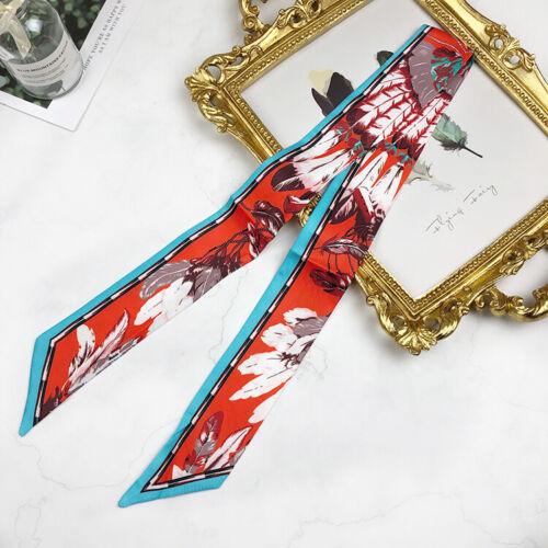 Feather Orangred Silky Twilly Skinny Scarf Ribbon Hair Handbag Handle Wrap