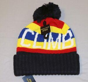 NWT Polo Ralph Lauren CLIMB Wool Beanie Hat Vtg Alpine Hi Tech 92 93 ... 554b35e770b