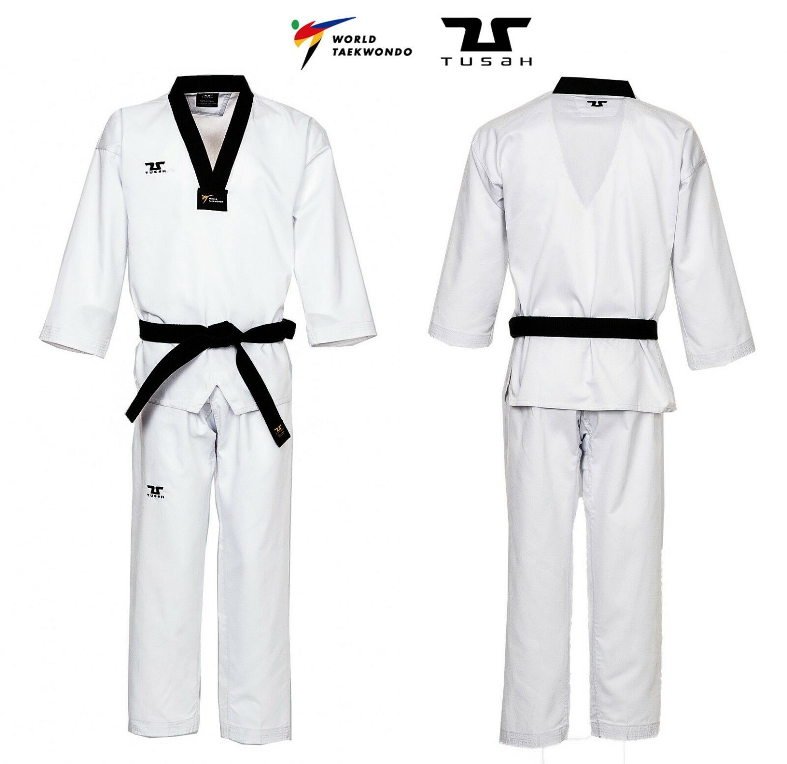 Tusah - Dobok Basic Uniform cololosvart per Taekwondo Omologato WTF i polybomull