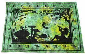 FANTASY-Feen-Elfen-Mushroom-Decke-Wandbehang-Tagesdecke-Tuch-200x135-cm-GOA-psy