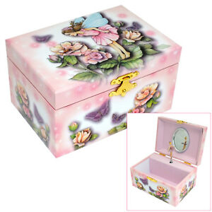 GIRLS PINK FAIRY & FLOWERS MUSICAL JEWELLERY & TRINKET BOX SPINNING BALLERINA