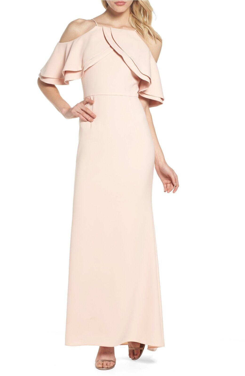 Eliza J Ruffle Bodice Cold Shoulder Gown, Größe 10P, Blaush, Retail ,  FL0527