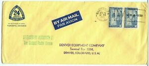 1942 double weight 6c+6c AIR MAIL etiquette label to USA, Canada cover