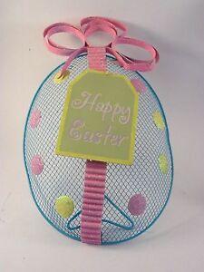 Metal Turquoise Pink Happy Easter Egg Desk Sign Spring & Summer Decoration