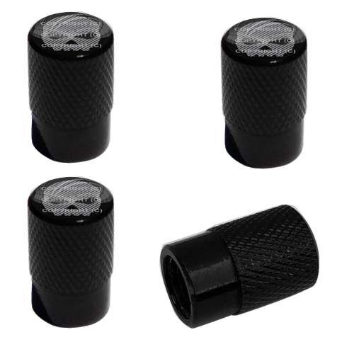 FIBER SKULL G B ANY 4 Black Billet Aluminum Knurled Tire Air Valve Stem Caps