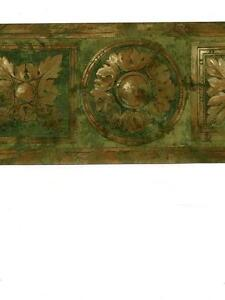 Wallpaper-Border-Antiqued-Brass-amp-Green-Faux-Wood-Round-and-Square-Medallion