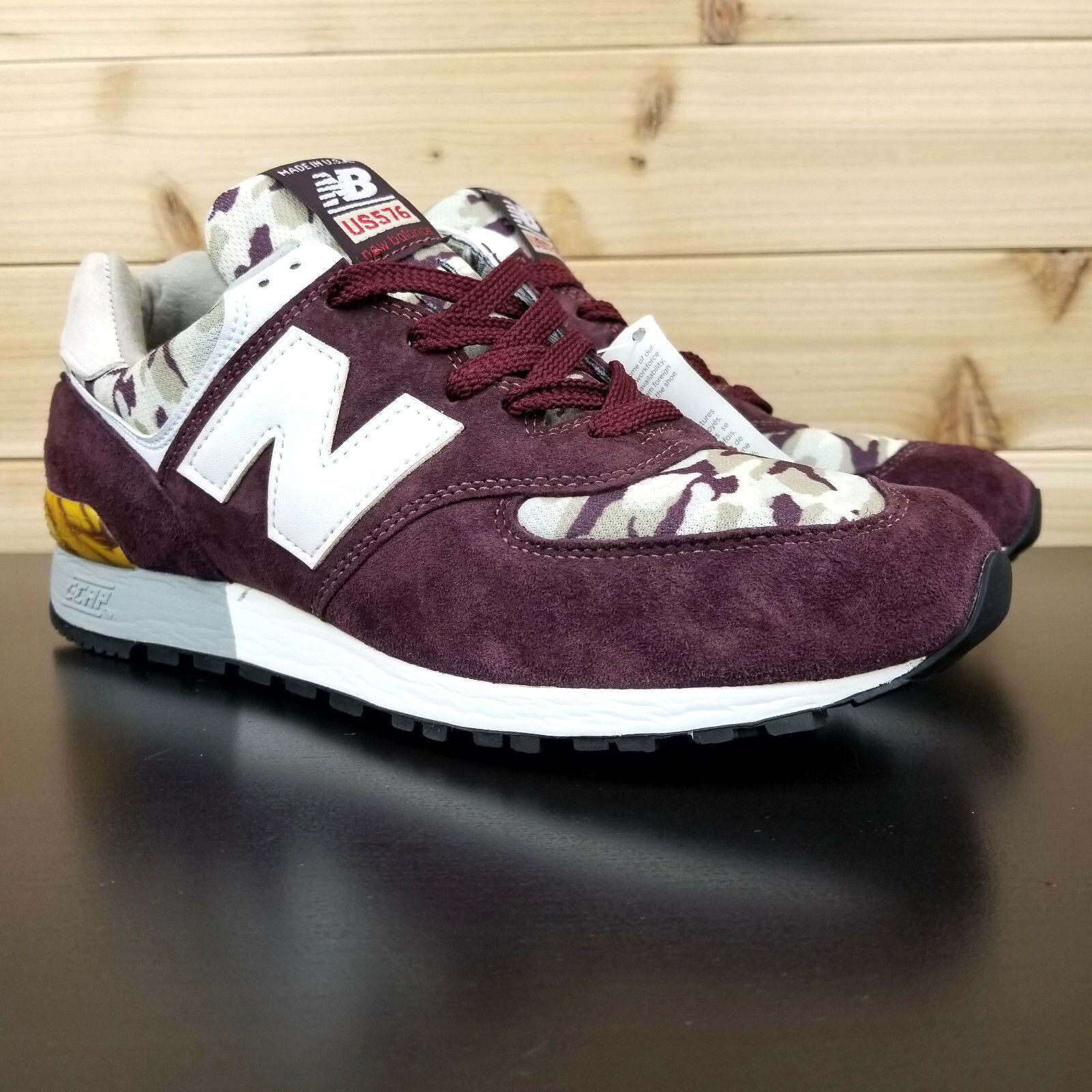 New Balance US576CM4 Men's Sz 10 Burgundy Camo Made in USA Classic Sneaker  160