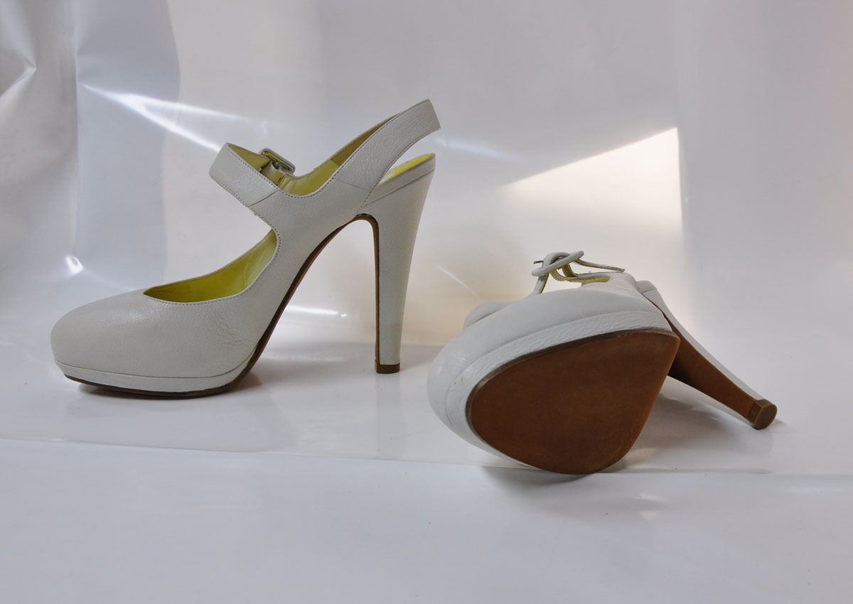 Michel Perry Perry Perry white leather Mary-Jane style hi-heel pump - Size EU41, 5.25  heel 72b00a