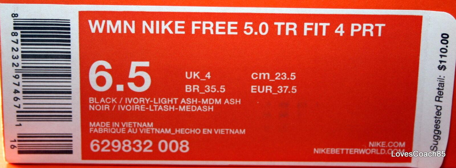 Wmns Nike Free 5.0 TR Fit Fit Fit 4 PRT Black Ivory-Lt Ash-Med Ash 629832-008 NIB 459e7f