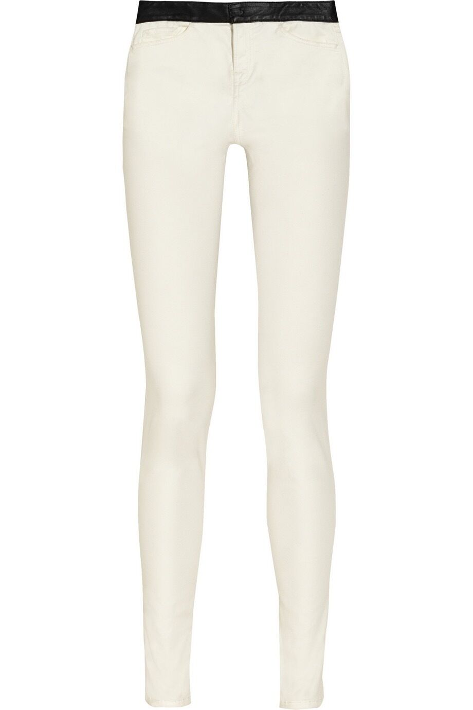 425 R13 Hose leather-trimmed skinny Jeans Denim in white size 27 NWT