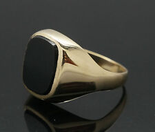 9Carat Yellow Gold Oval Onyx Signet Ring (Size R) 12x14mm Head