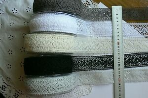 CROCHET-LACE-30-35mm-wide-1-or-2-Metre-Lengths-5-Colour-Choice-May-Arts-LLD6