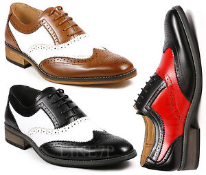 Men-039-s-Two-Tone-Perforated-Wing-Tip-Lace-Up-Fashion-Oxford-Dress-Shoes