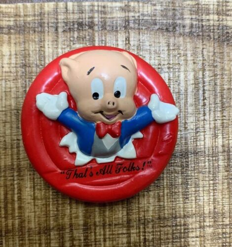 "Vintage Porky Pig ""Thats All Folks"" Applause Magnet 1988 Warner Bros Loony Tunes"