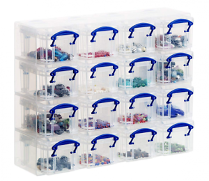 Really Useful Organiser, 16 x 0.14 Litre Storage Boxes in a Clear Plastic and