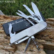 Multi Function 11 Features Stainless Steel Pocket Tools Knife Silver 213006