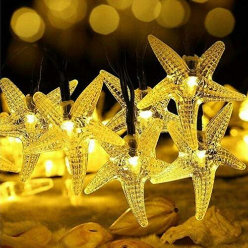 Starfish Solar String Lights 20ft 30 LED Fairy Christmas Lights Halloween Light