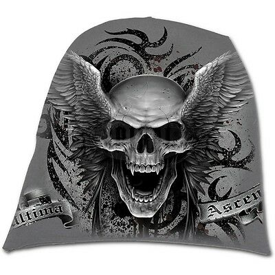 Spiral Ascension Beanie Metal Rock Goth Skull Wings