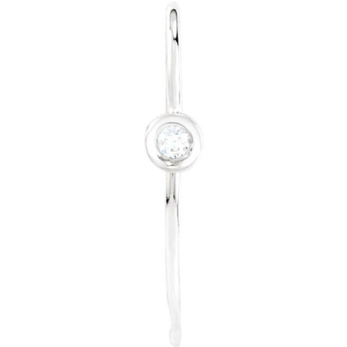 14K Solid White Gold .06 ctw Diamond Bezel-Set Accented French Ear Wire w//Ring