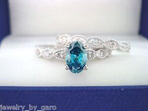 14k White Gold Oval Enhanced Blue Engagement Ring Wedding Band