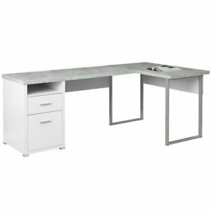 Bon Details About Monarch L Shaped Corner Computer Desk In White And Gray Cement