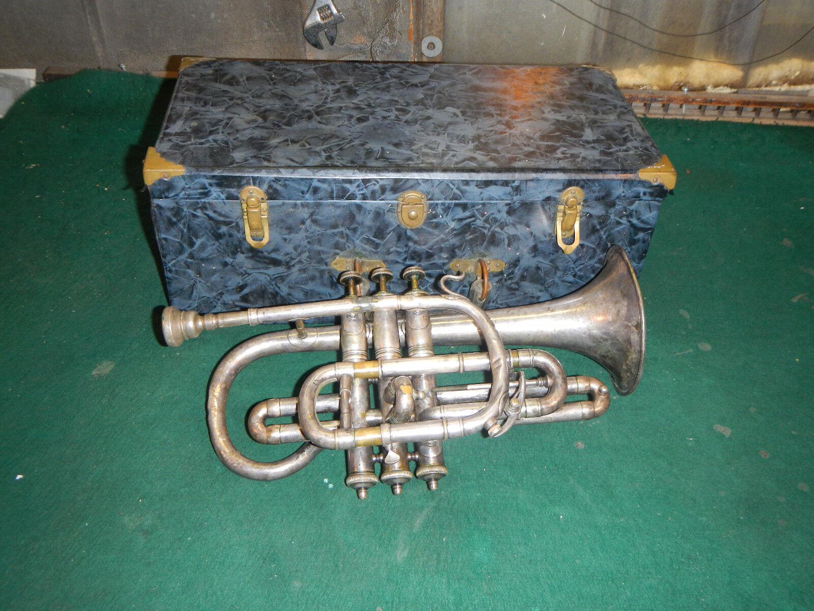 Vintage Cornet Trumpet Henri Lemone Need work  Repair Paris