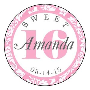 Image is loading Sweet-16-Birthday-Party-Favor-Personalized-Round-Labels-
