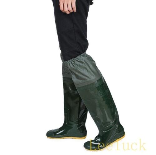 New Mens Flat Fishing Work Waterproof Rubber Over The Knee Boots Shoes Casual
