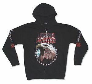 Lynyrd Skynyrd Eagle Black Zip Up Hoodie Sweatshirt New