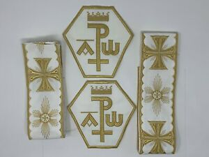 Vestment-A-amp-o-Chi-Rho-Cruz-Emblems-Banda-Oro-en-Blanco-para-Coser-6Pcs-Lote
