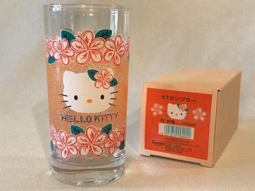 Rare Sanrio Hello Kitty Tropical Orange Hibiscus Drinking Glass Tumbler 1999